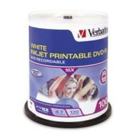 Verbatim DVD-R 100Pk Spindle white InkJet Printable 4.7GB 16x