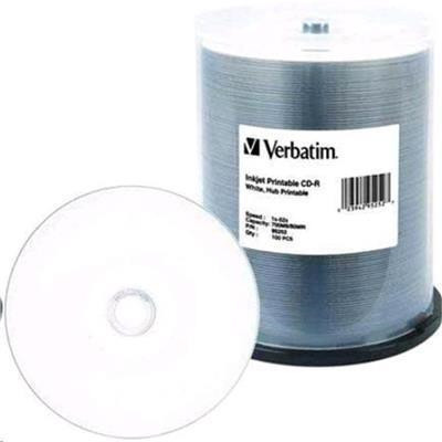 Verbatim 95252 CD-R 80Min White Wide Inkjet Printable 100 Pack 52x AZO