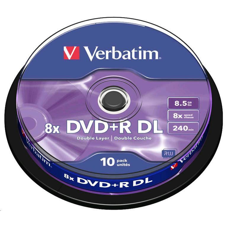 Verbatim DVD+R DL 8.5GB 10 Pk Spindle 8x Supported by high speed Double Layer writers