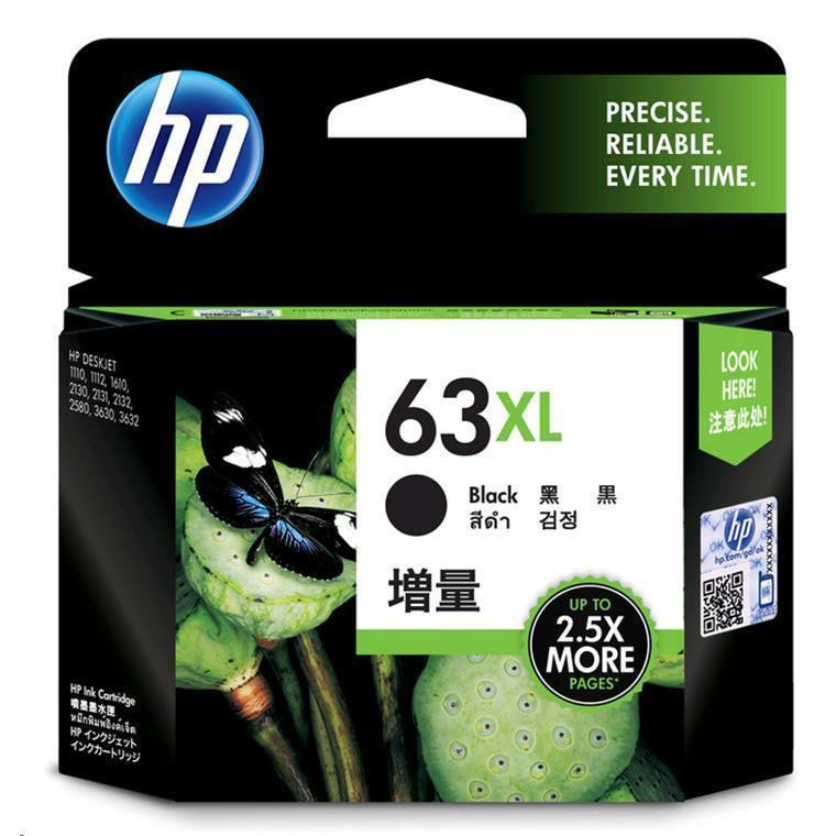 HP Ink Cartridge 63XL Black High Yield 480 Page F6U64AA