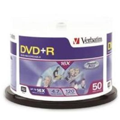 Verbatim DVD+R 50Pk Spindle 4.7GB 1X-16x Spindle