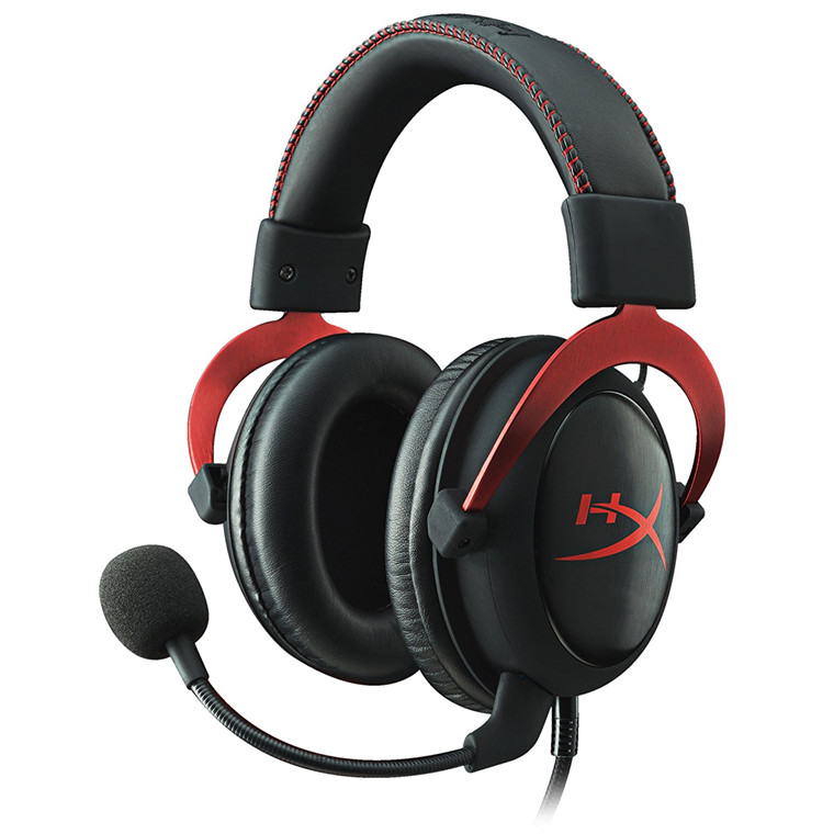 Kingston HyperX Cloud II USB PC Gaming Headset Red, USB Audio Sound Adapter With 7.1 Virtual Surround Sound, 53mm Drivers Neodymium Magnets, Memory Foam Ear Pads & Extra Set of Velour Ear Pads And Detachable Microphone, Compatible With PS4,